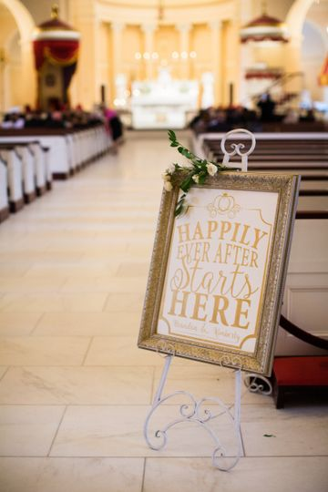 A gorgeous fairy tale wedding sign announcing that happily ever after starts here!