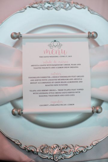Custom wedding menu scrolls for a fairy tale wedding.