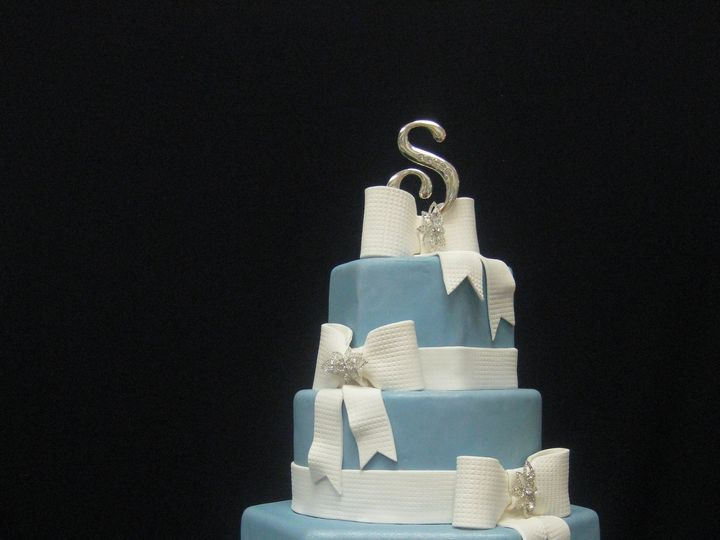 Tmx 1454697109198 Bows And Blue Hex Wedding Tiered 3 Seattle, WA wedding cake