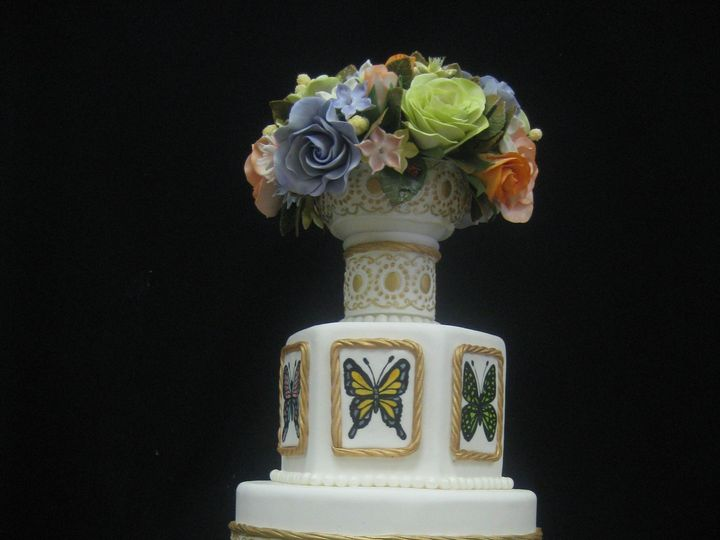 Tmx 1454697140901 Butterly Gumpaste Flowers Wedding Tiered 1 Seattle, WA wedding cake