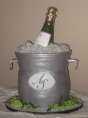Tmx 1454697190249 Champagne Bottle Bucket Initials Sculpt Seattle, WA wedding cake