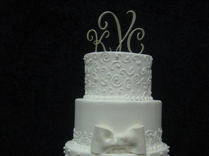 Tmx 1454697463002 Mixed Stripes Dots Bow Scroll Wedding Tiered 2 Seattle, WA wedding cake