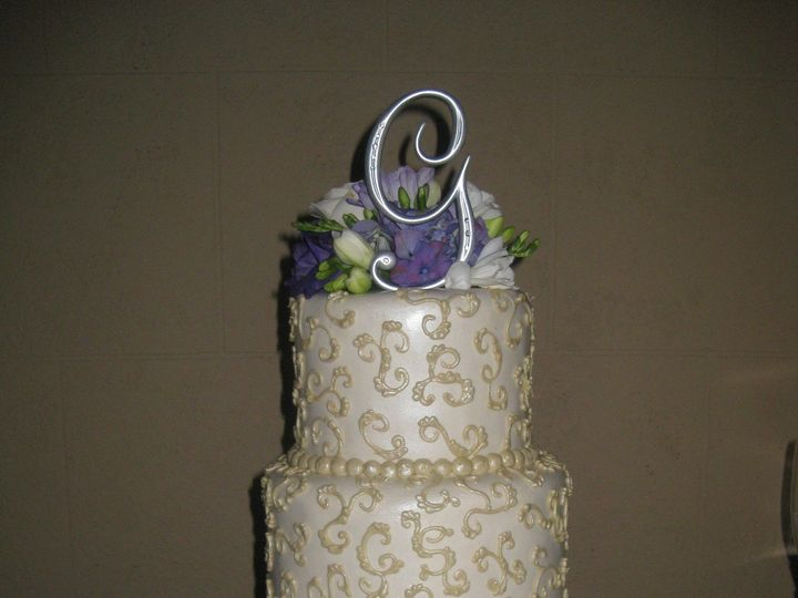 Tmx 1454697543731 Pearl Scroll Fresh Flowers Wedding Tiered 2 Seattle, WA wedding cake