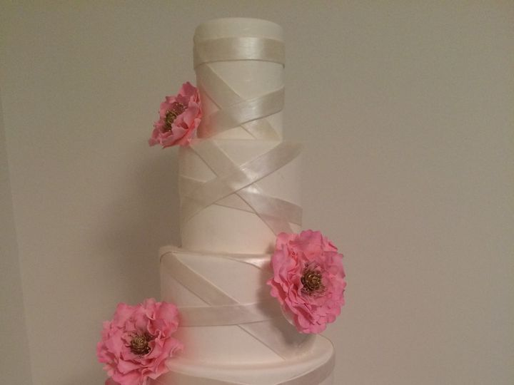 Tmx 1454697587385 Pink Gumpaste Flowers Wrapped Tiered Wedding Cake Seattle, WA wedding cake