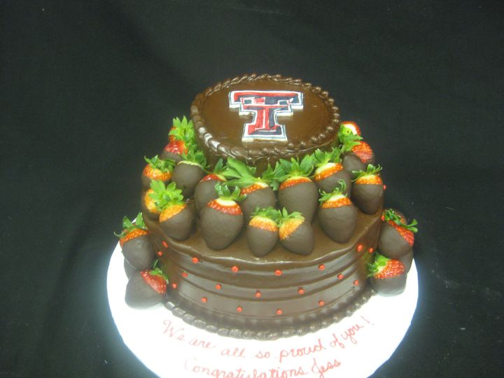 Tmx 1454697832057 Texas Tech Cutout Choc Ganache Strawberries Tiered Seattle, WA wedding cake