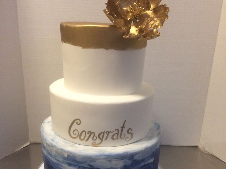 Tmx 1468338947296 Gold And Watercolor Tiered Gradutaion Cake Seattle, WA wedding cake