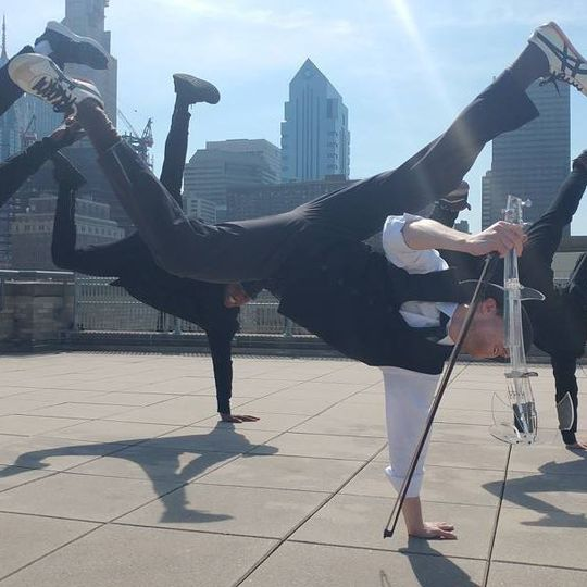 Our breakdancing violinist and backdancers