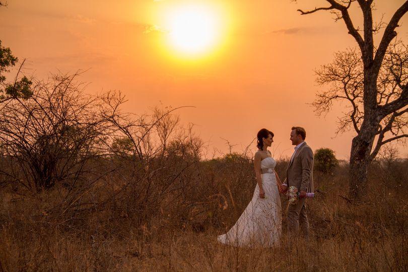 wedding couple bush