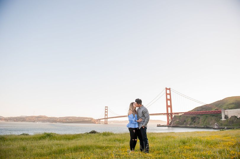 Couple in front of Golden Gate Bridge