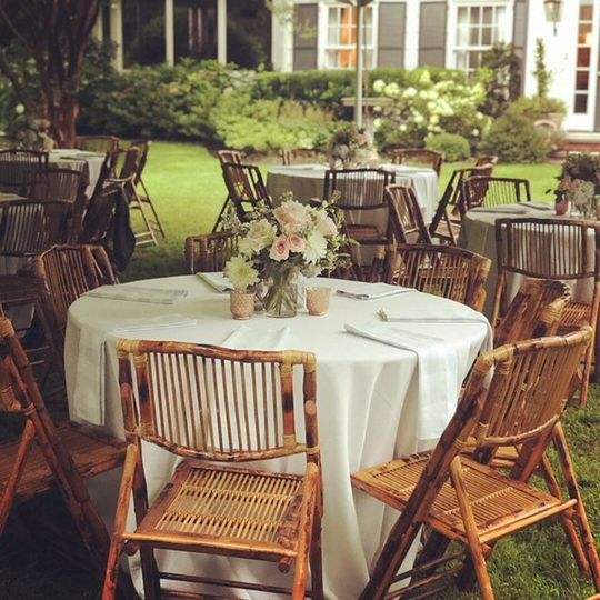 """48"""" Round Tables, White Panama Tablecloths, Bamboo Folding  Chairs"""