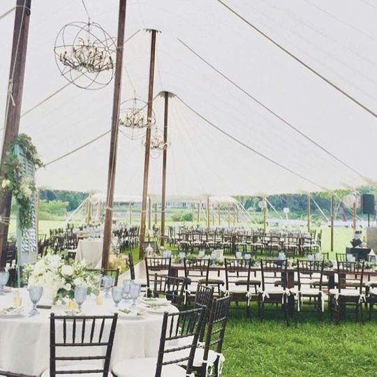 Sail Cloth Tent with Crystal Orbs, Fruitwood Ballroom Chairs, Smoky Blue Goblets