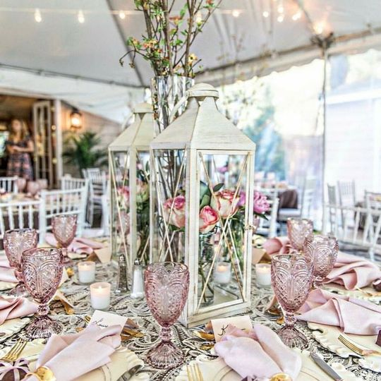 Bridal Shower with White Washed Chargers, Blush Goblets, Lace Overlays, Pink Panama Napkins