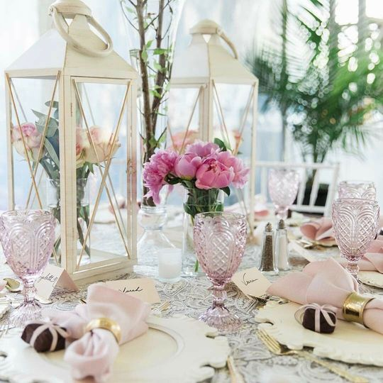Bridal Shower with White Washed Chargers, Blush Goblets, Lace Overlays