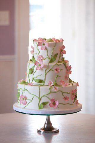 Vines and cherry blossom inspired cake
