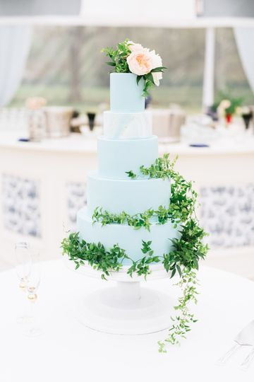 Baby blue wedding cake decorated with vines