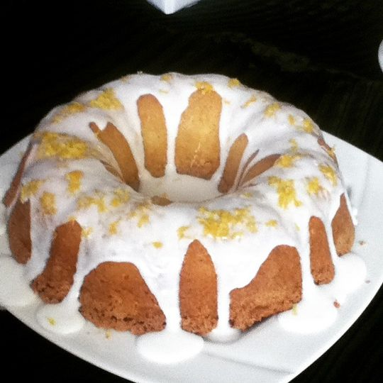 Lemon pound cake for a cake display