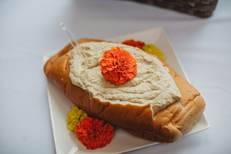 Edible Flower on Hummus
