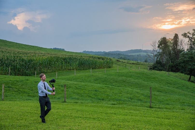 Dustin filming a wedding