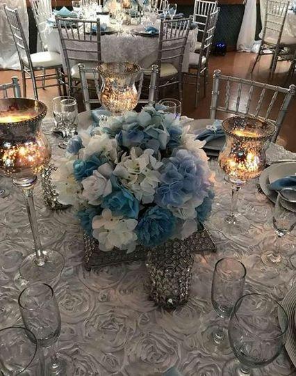 Blue floral centerpiece