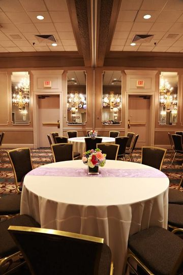 Table with flower centerpieces
