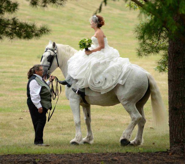 Horseback riding in elegant gown