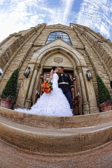 A kiss outside the church