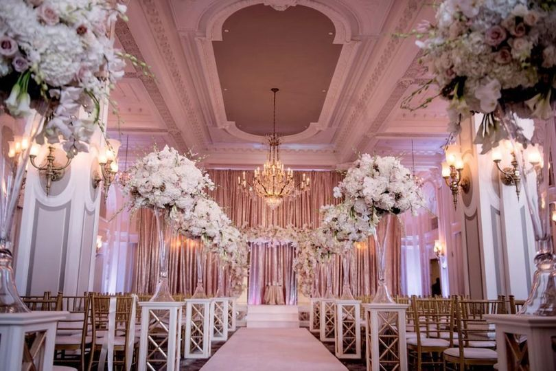 ceremony space overview blush and pink uplighting chandelier and hydrangia aisle decor adriennekeith wedd 0223 1024x682 51 148902 160865688797452