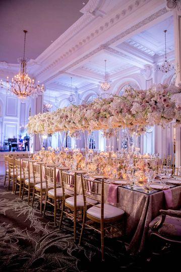 reception ballroom longshot rose hydrangea tall center pieces adriennekeith wedd 0794 51 148902 160865688880422