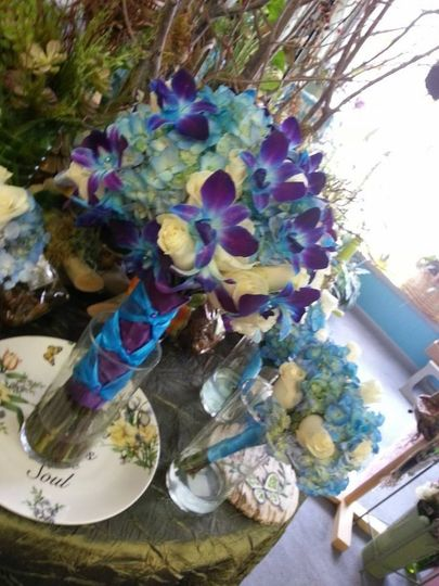 Lovely blue and purple bouquet