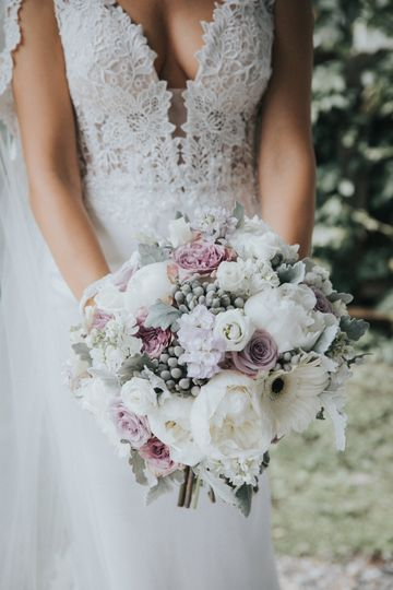 Lace wedding dress and wedding bouquet