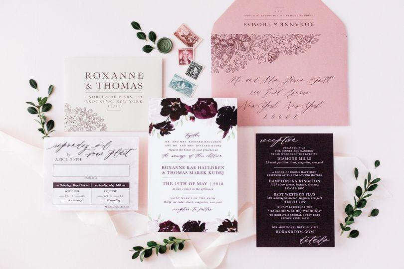 burgundy dusty pink watercolor wedding invitation 51 501012
