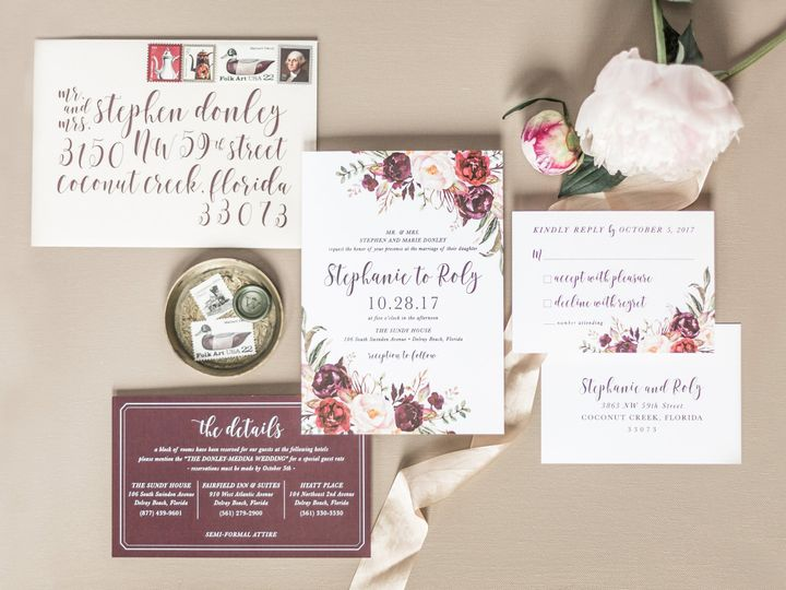 Tmx Dark Red Watercolor Flower Wedding 51 501012 Forest Hills, NY wedding invitation