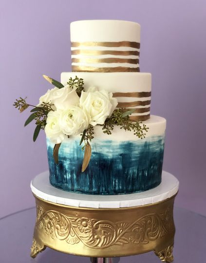 Gold navy painted cake