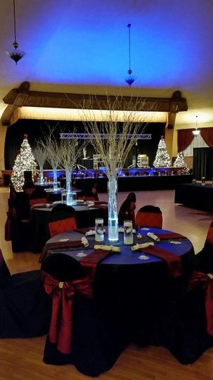 Great hall with christmas theme table set up