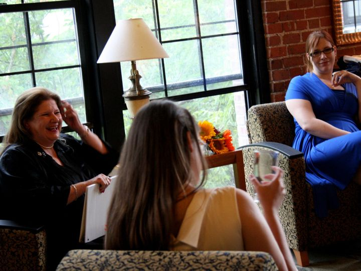 Tmx 1456887481219 Chatting With Bride And Maid Of Honor Pre Ceremony Waltham wedding officiant