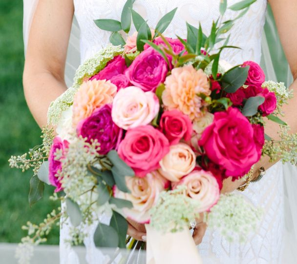 Pink themed bouquet Mary Costa Photography