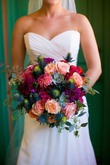 Colorful bouquet Callaway Gable PhotographyModern LA Weddings