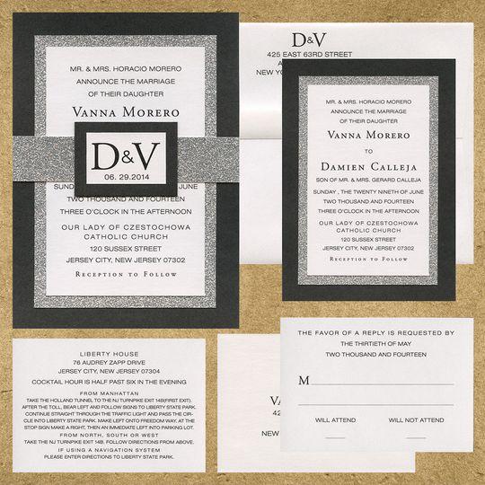 3 layer invitation with metallic black, silver glitter, and white metallic paper. custom logo...