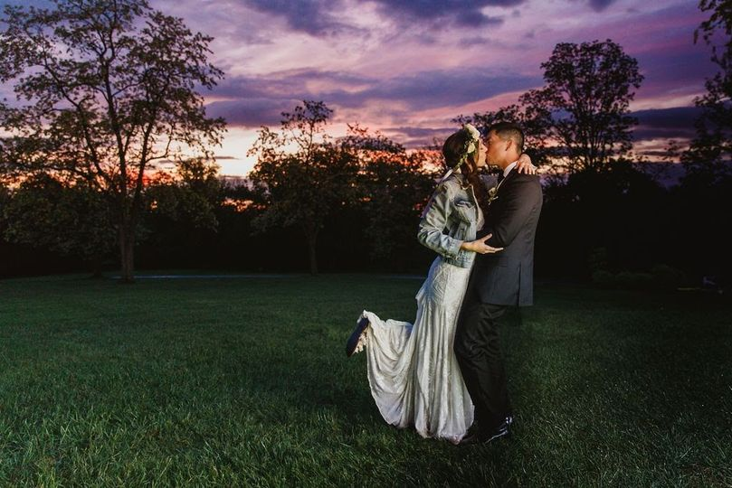 Sunset with bride & groom