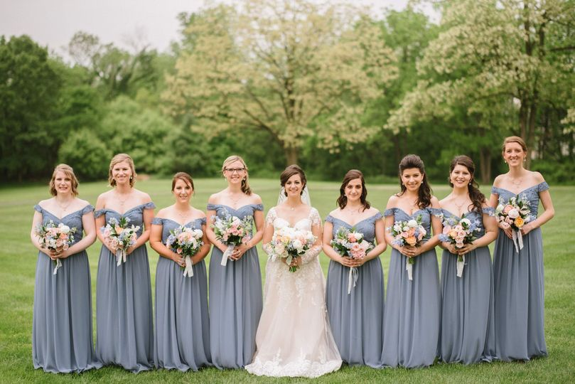 Bridal party on lawn