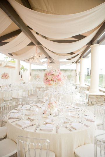 Ceiling drape and florals