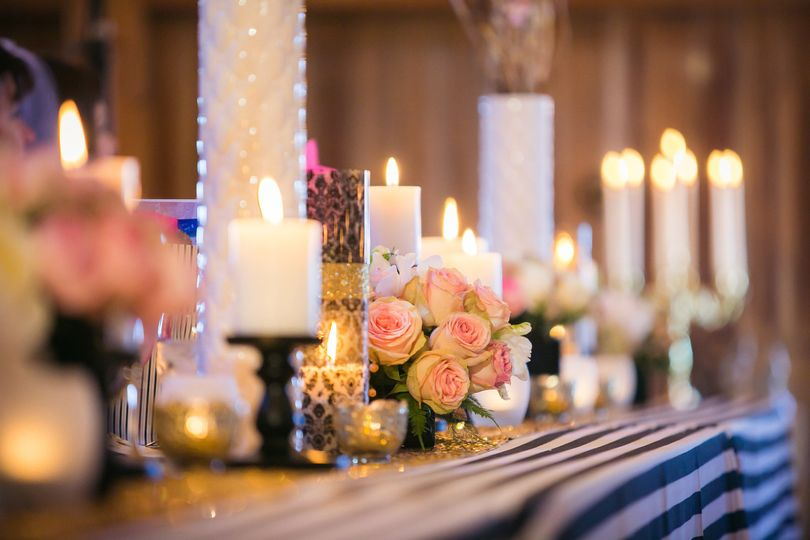 Candlelight wedding table setting