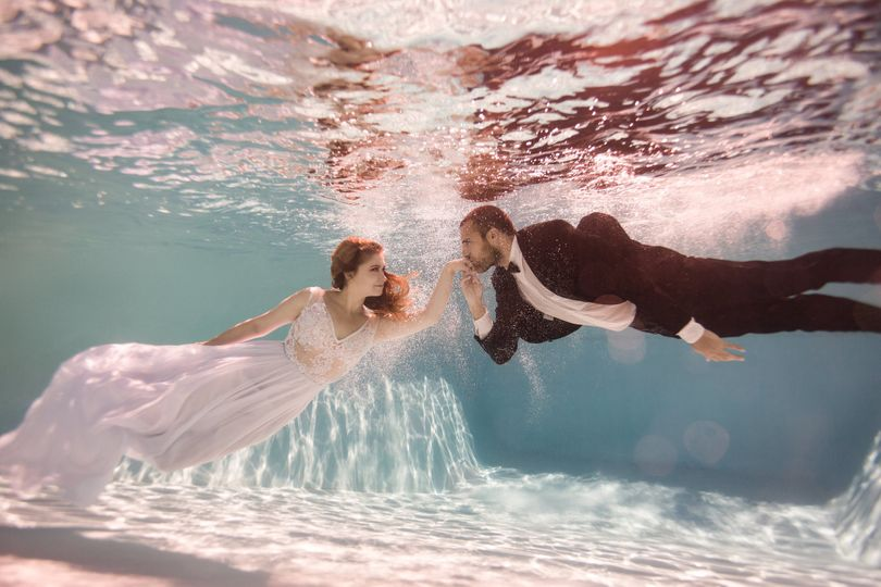 "Underwater engagement photo shoot was a success! We love dreaming up ""out of the box"" WOW-factors..."
