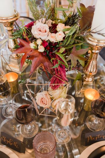 Close up of our boho glam dinner table centerpieces