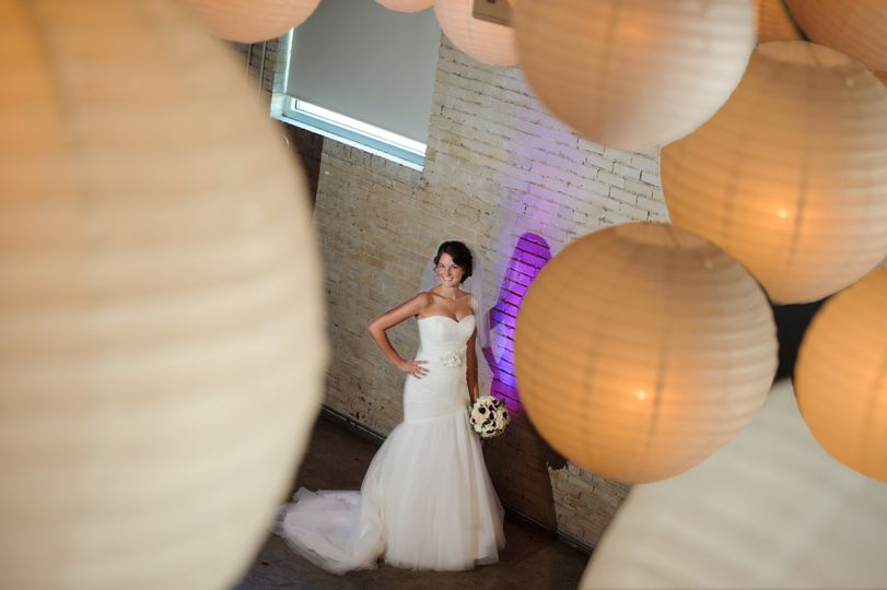 The bride through lights