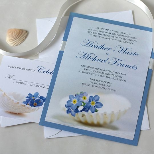 For Get Me Not Beach Wedding Invitation