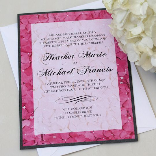Pink Hydrangea Wedding Invitation