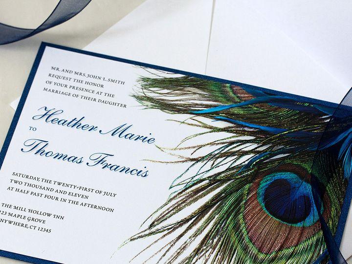 Tmx 1391029879022 Blupeacockinv Newtown, New York wedding invitation