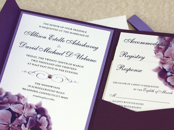 Tmx 1391029909074 Purplhydrnginvite Newtown, New York wedding invitation