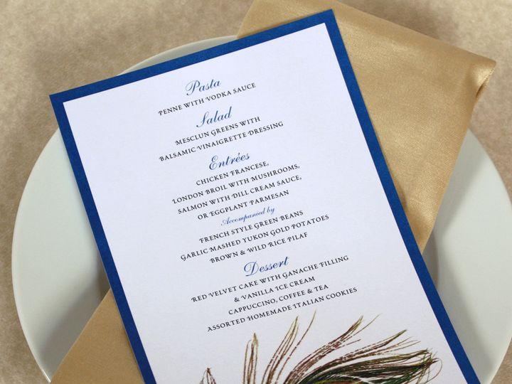 Tmx 1391031153619 Peacockmenu Newtown, New York wedding invitation